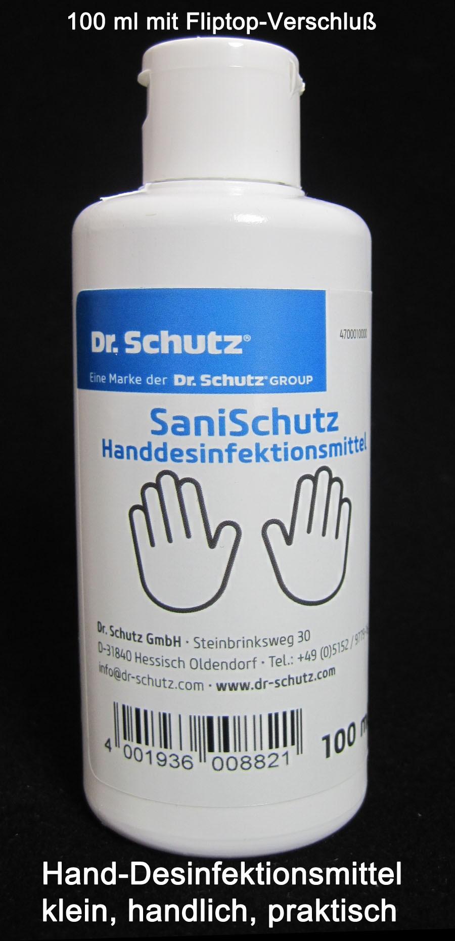 Handdesinfektionsmittel SaniSchutz mit Fliptop-Verschluß 100 ml