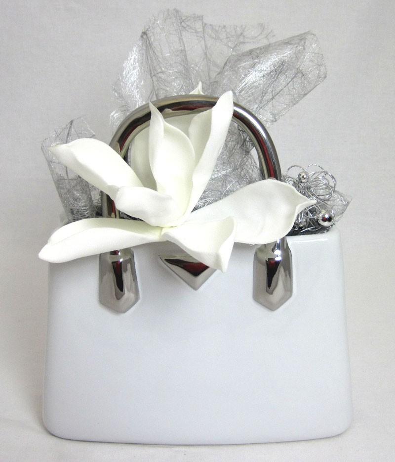Keramik-Handtasche Vase Milano weiß/silber ca. 11,5 x 24,5 x 25,5 cm (T/B/H)