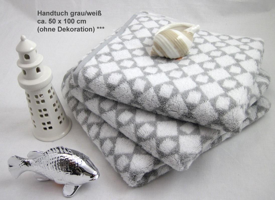 Handtuch Cawö Diamant weiß/grau ca. 50x100 cm
