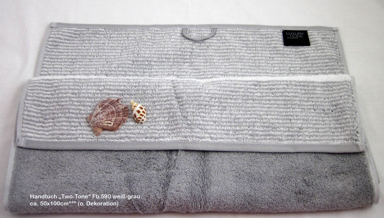 """Handtuch """"Two-Tone"""" Fb.76 weiß/grau ca. 50x100 cm"""