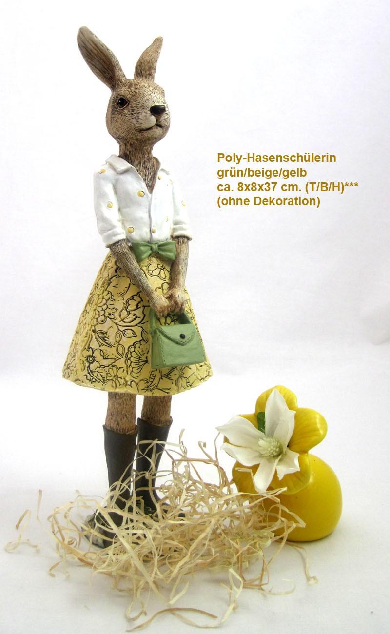 1 Poly - Hasenschüler - Mädchen stehend grün/gelb/beige ca. 8x8x37 cm (T/B/H)