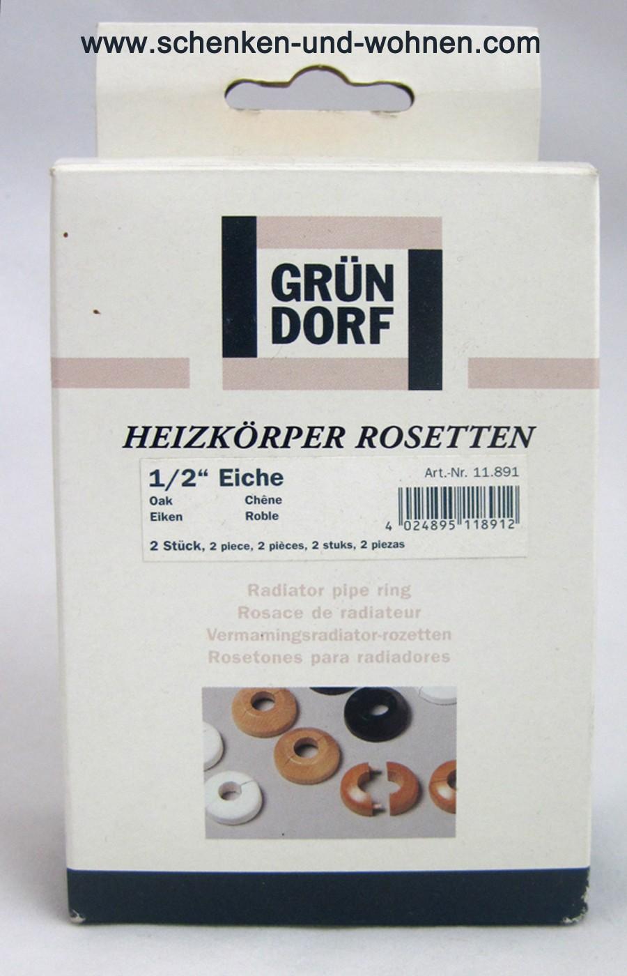 Heizkörper Rosetten 1/2 Zoll Eiche Holz 22 mm 2 Stück