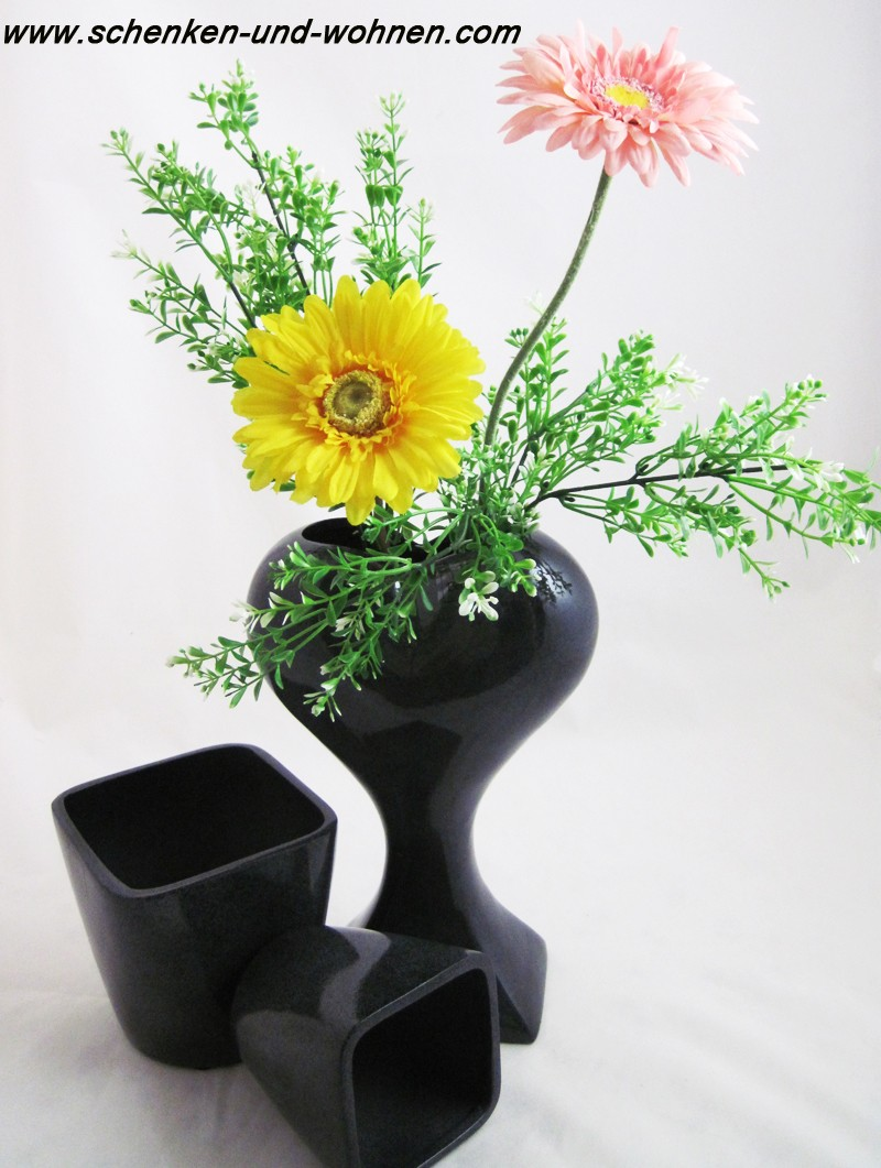 Pflanzgefäß - Vase Herz Pokal glasiert - Anthrazit ca. 30 x 19 x 9,5 cm (H/B/T)