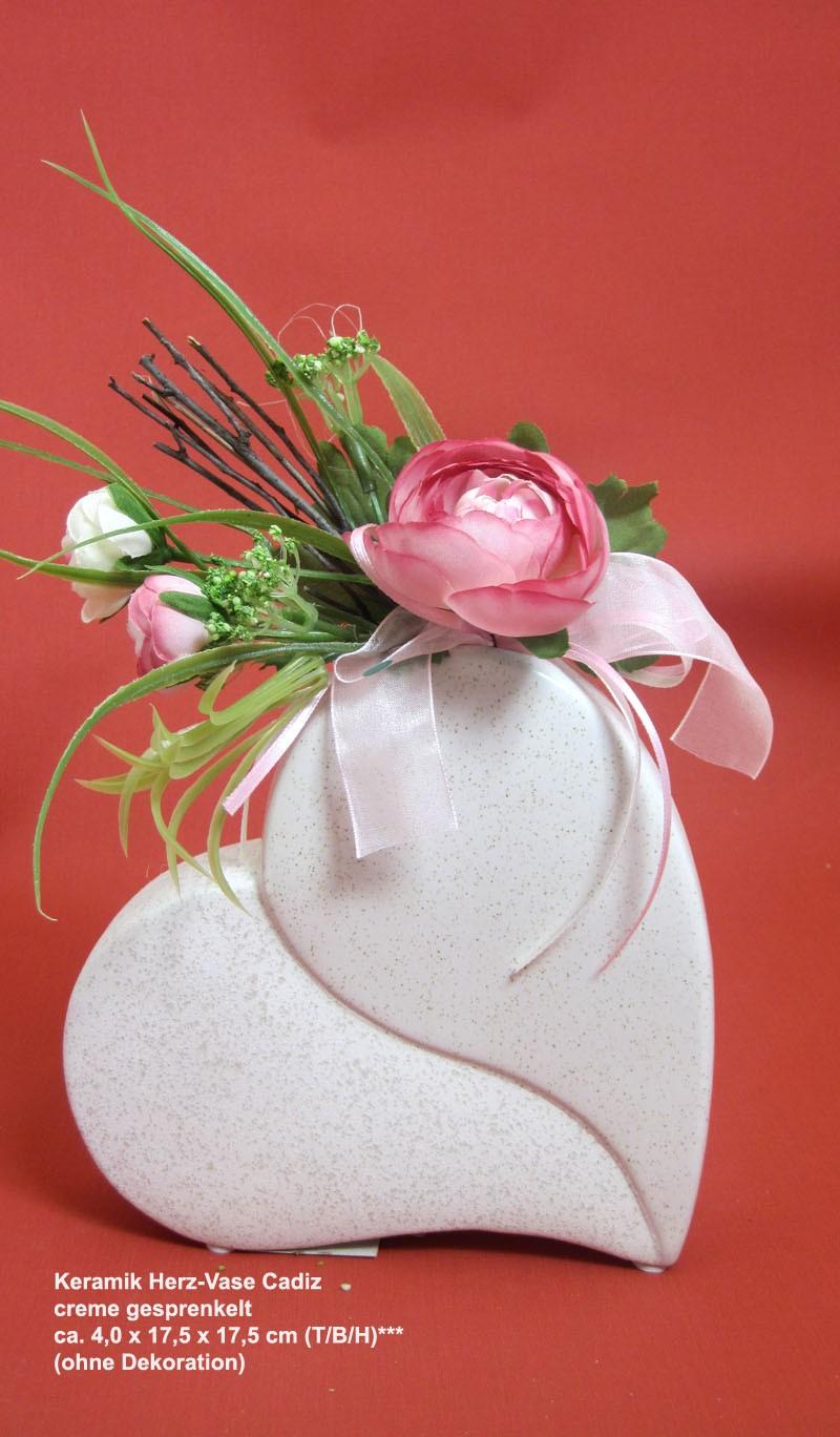 Keramik Herz-Vase Cadiz, creme gesprenkelt, ca. 4,0 x 17,5 x 17,5 cm (T/B/H)