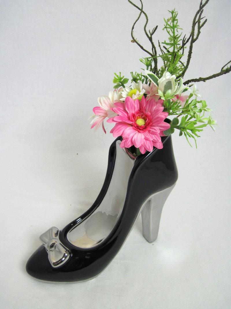 Dekofigur High Heel Milano schwarz-silber ca. 8,0 x 21,5 x 20,0 cm (T/B/H)