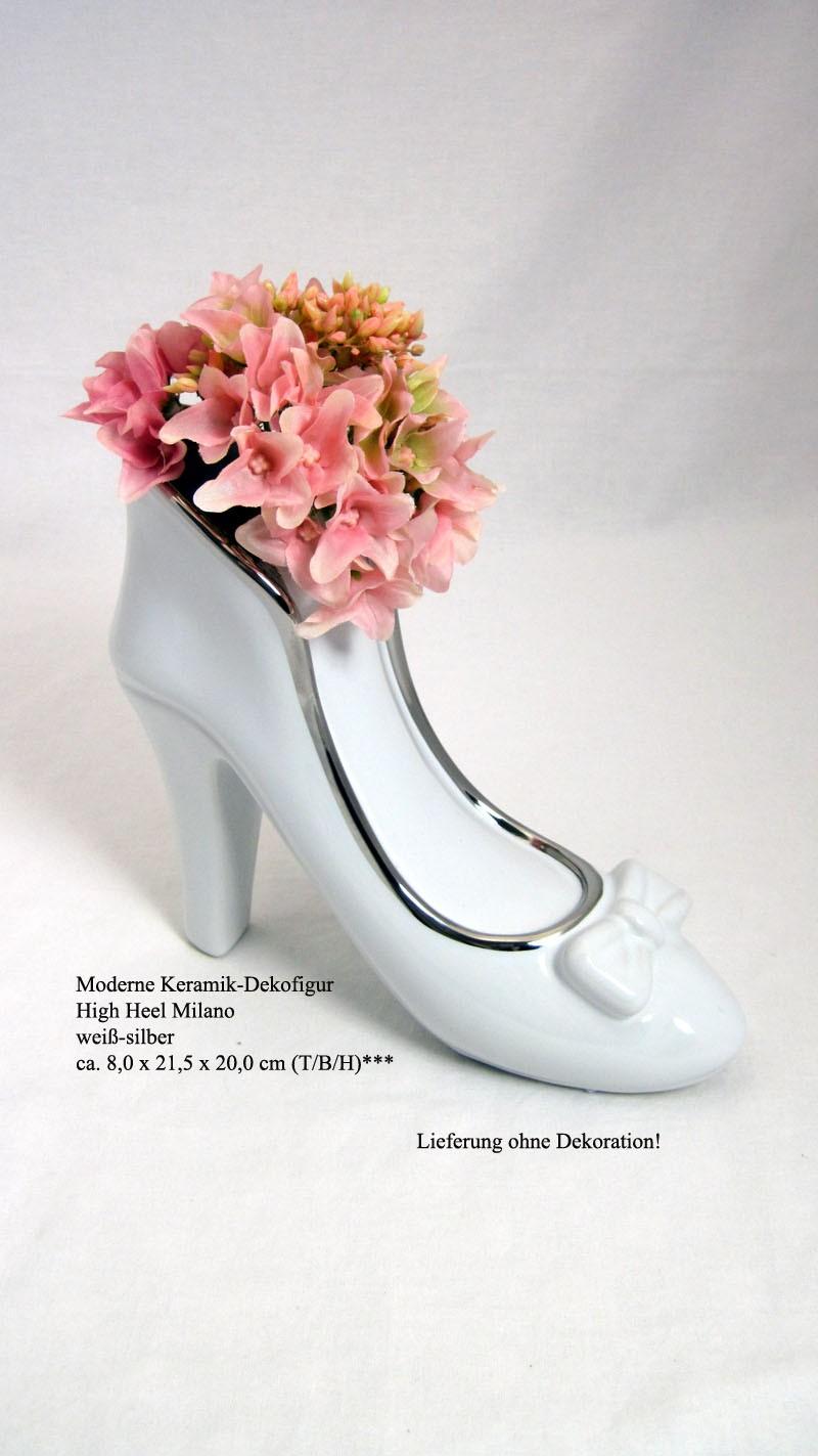 Keramik-Dekofigur  High Heel Milano weiß-silber ca. 8,0 x 21,5 x 20,0 cm (T/B/H)
