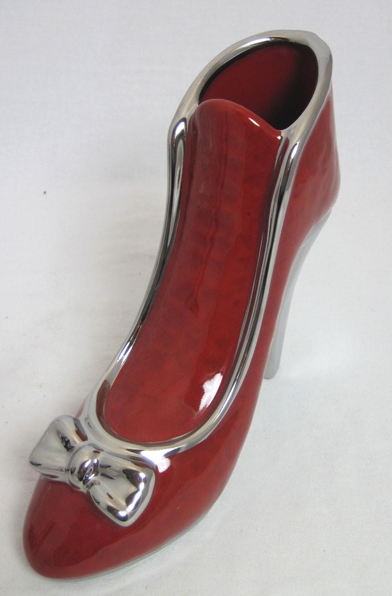 Keramik-Dekofigur High Heel Milano rot-silber ca. 8,0 x 21,5 x 20,0 cm (T/B/H)