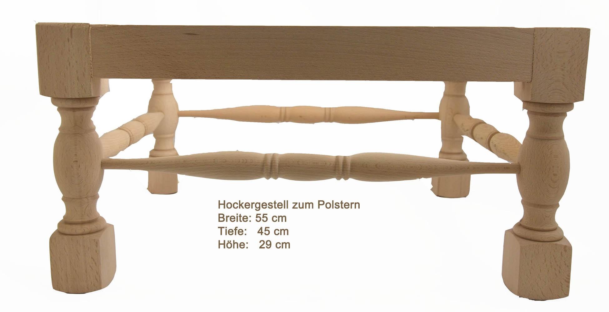 Gestell für Hocker zum Polstern Massivholz