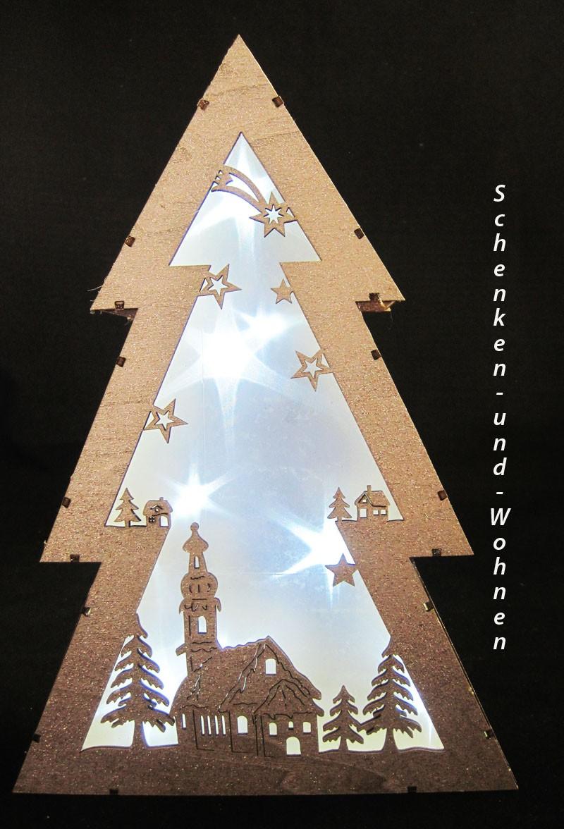 LED Holz-Weihnachtstanne mit Flitter ca. 20 x 7 x 29 cm