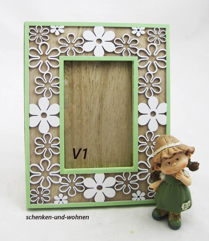 Holzbilderrahmen mit Blumendeko grün-weiß V1,ca. 19,5 x 1,7 x 42 cm