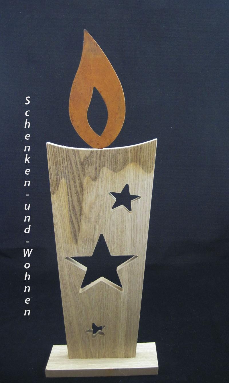 Holzdekokerze mit Sternendurchbruch und Rostflamme ca. 17 x 45 cm