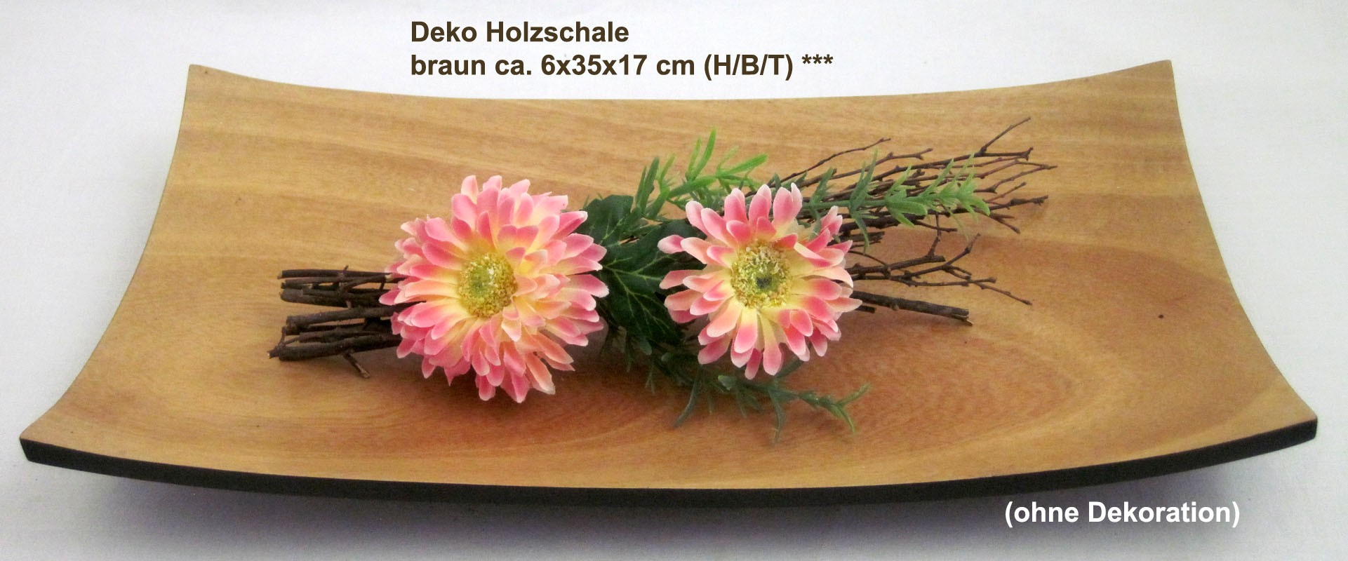 Deko Holzschale braun ca. 6x35x17 cm (H/B/T)