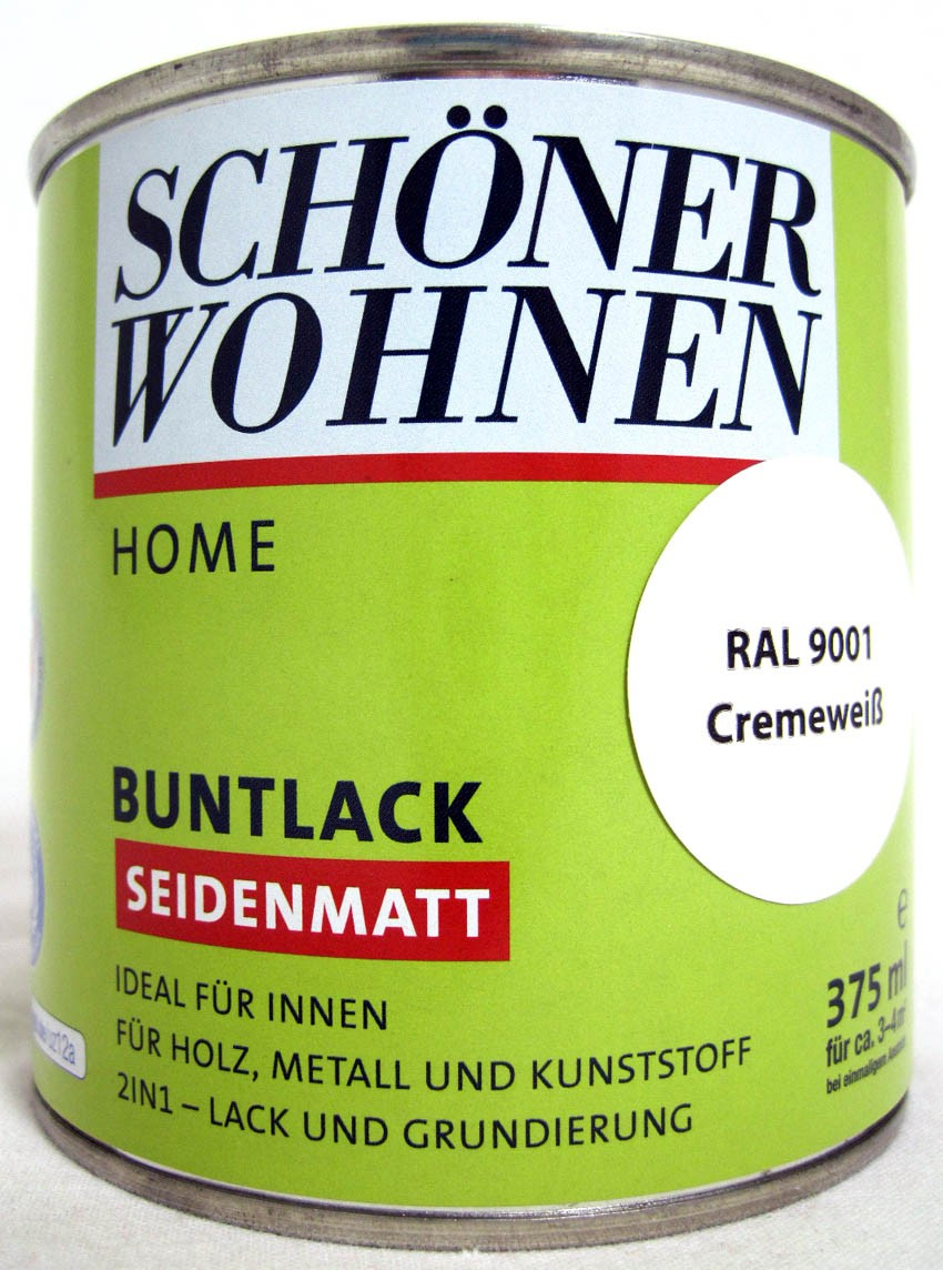 Home Buntlack - Acryllack, seidenmatt, RAL 9001 cremeweiß, 375 ml