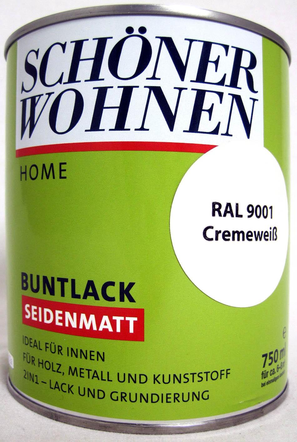 Home Buntlack - Acryllack, seidenmatt, RAL 9001 cremeweiß, 750 ml