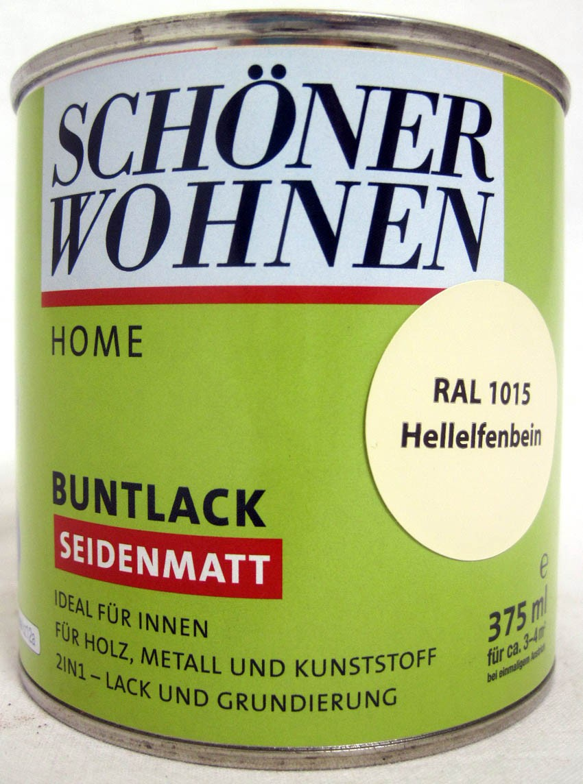 Home Buntlack - Acryllack, seidenmatt, RAL 1015 Hellelfenbein, 375 ml