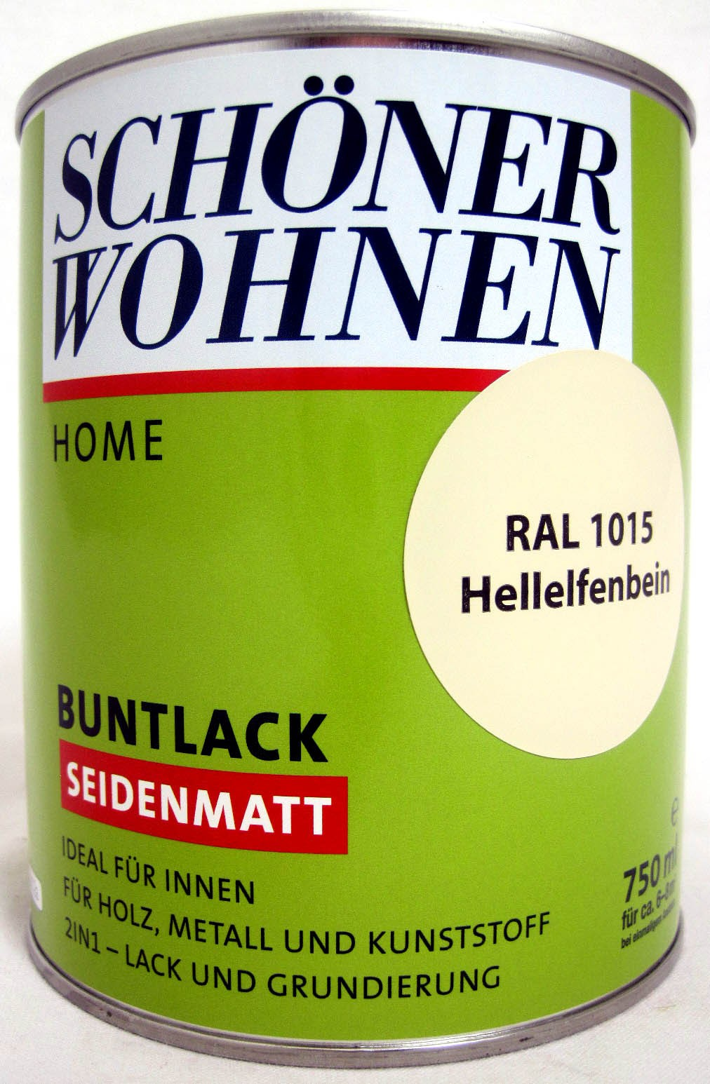 Home Buntlack - Acryllack, seidenmatt, RAL 1015 Hellelfenbein, 750 ml
