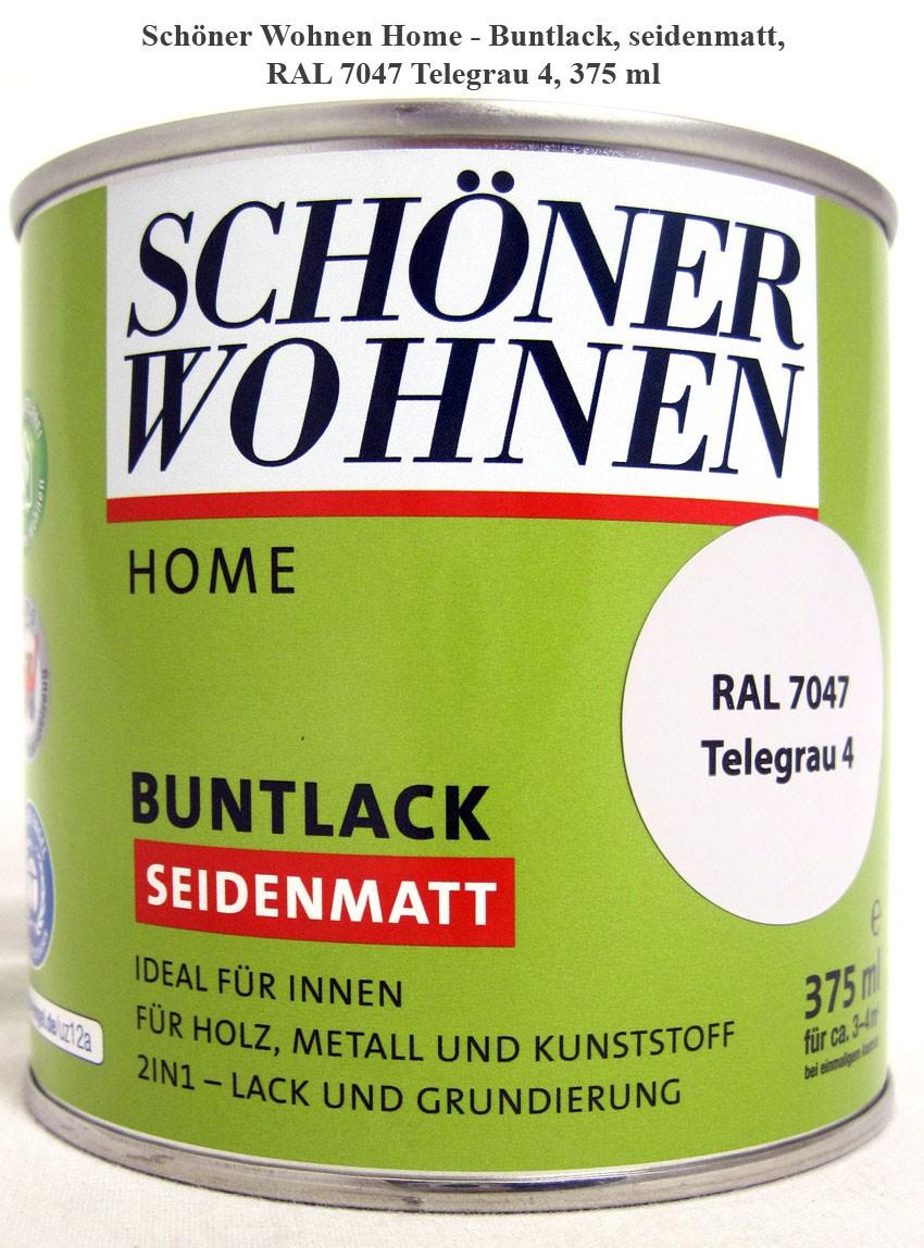 Home Buntlack - Acryllack, seidenmatt, RAL 7047 Telegrau 4, 375 ml