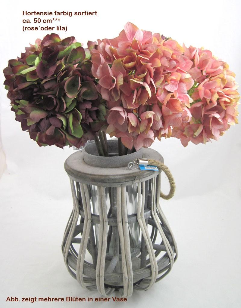 1 Kunstblüte Hortensie farbig sortiert, ca. 50 cm Gesamtlänge