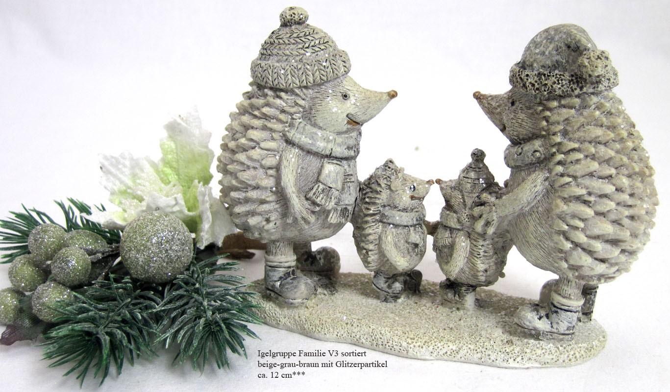 Igelgruppe Winterzeit Familie Glitzereffekt ca. 12 cm