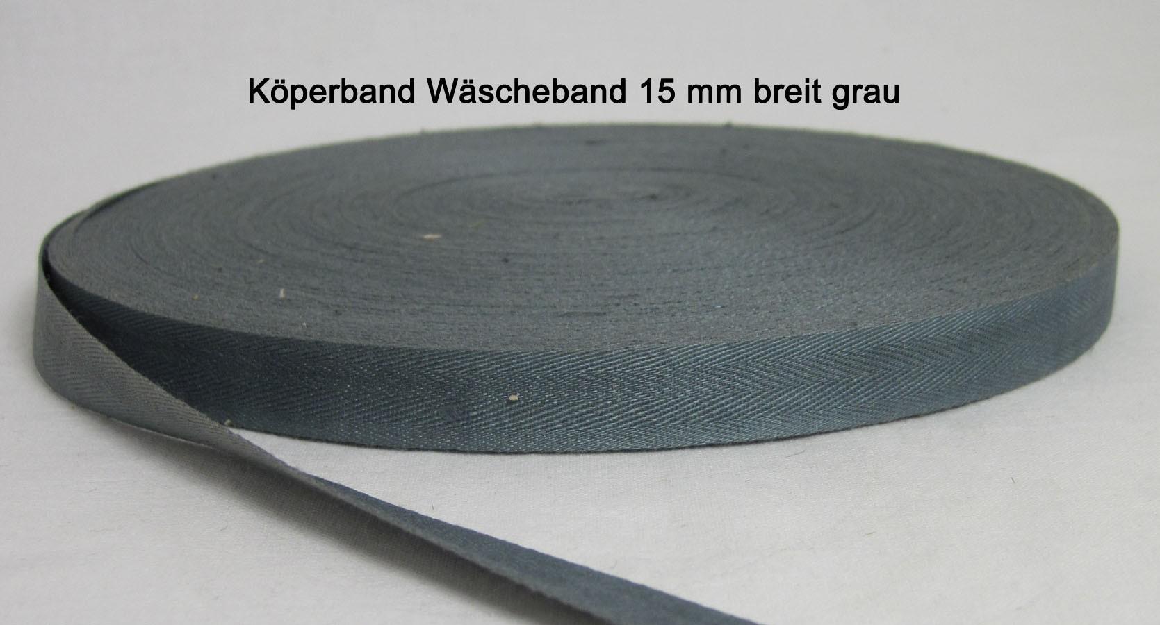 Köperband Wäscheband 14 mm grau 10 lfdm.