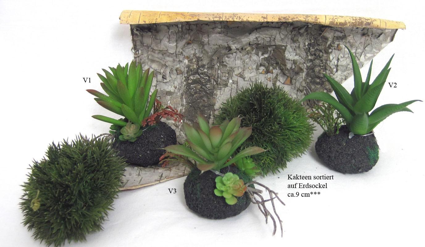 Kunstblume Kaktus auf Erdsockel sortiert  ca. 9cm