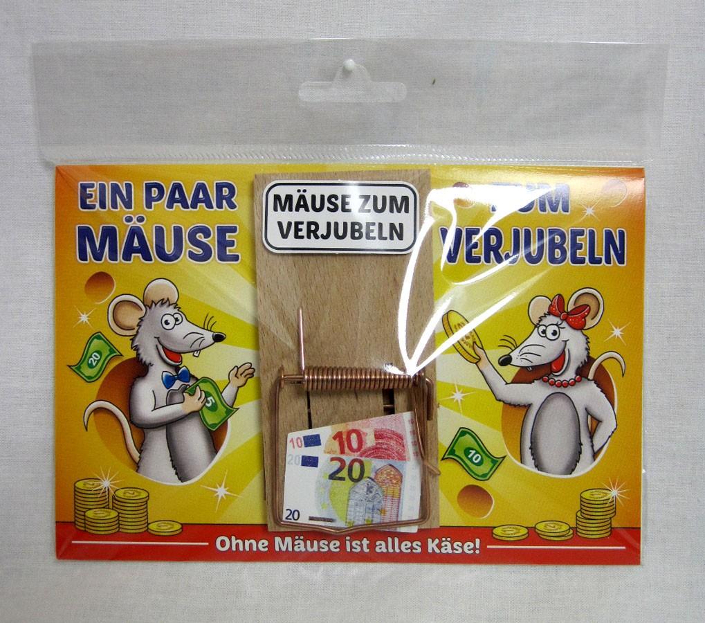 """Karte Mausefalle """" Ein paar Mäuse zum Verjubeln"""" bunt ca. 17,0x11,5cm"""