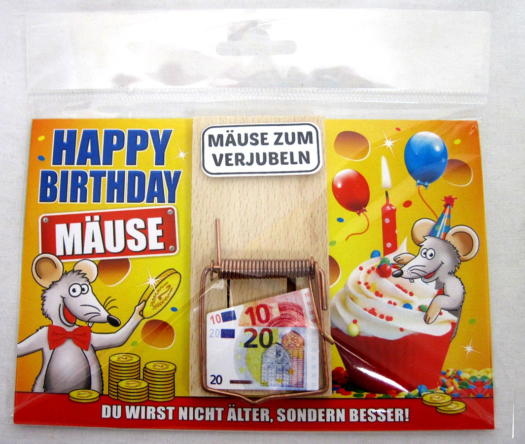"Karte Mausefalle "" Happy Birthday Mäuse"" bunt ca. 17,0x11,5cm"