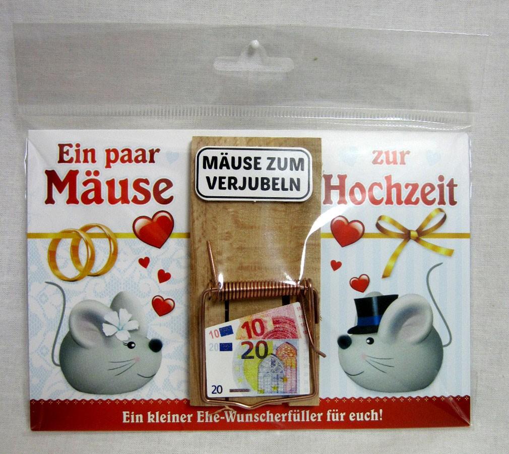 """Karte Mausefalle """" Ein paar Mäuse zur Hochzeit"""" bunt ca. 17,0x11,5cm"""