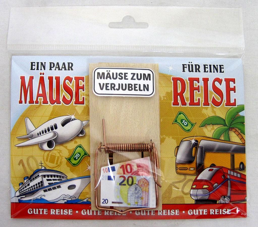 """Karte Mausefalle """" Ein paar Mäuse für eine Reise"""" bunt ca. 17,0x11,5cm"""