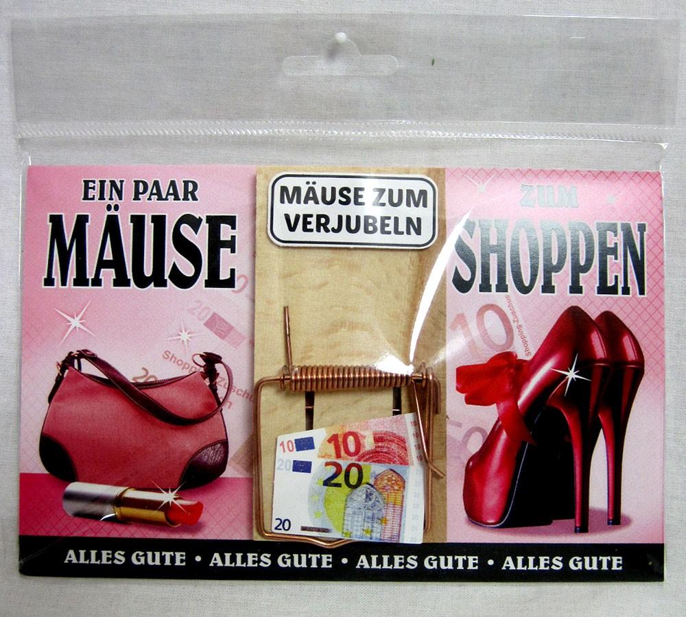 """Karte Mausefalle """" Ein paar Mäuse zum Shoppen"""" bunt ca. 17,0x11,5cm"""