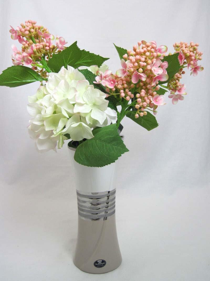 """Keramik-Vase mit Cut """"Brazil"""" weiß-silber-creme, Höhe ca.25cm"""