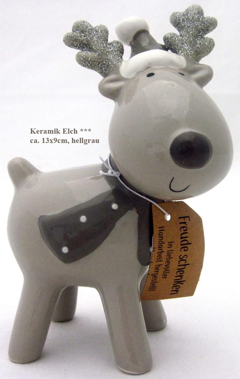 Keramik - Elch grau mit Schal und Mütze ca. 13 x 9 x 5 cm (H x B x T)