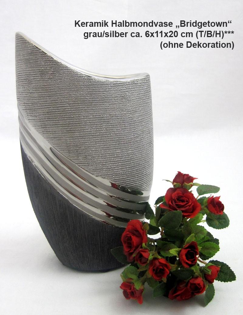 "Keramik-Halbmondvase ""Bridgetown"" anthrazit/silber ca. 6 x 11x 20 cm (T/B/H)"