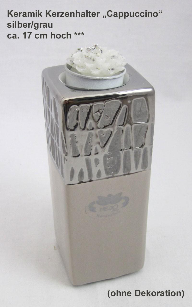 Keramik Kerzenhalter Cappuccino silber/grau ca. 17x6,5x6,5 cm