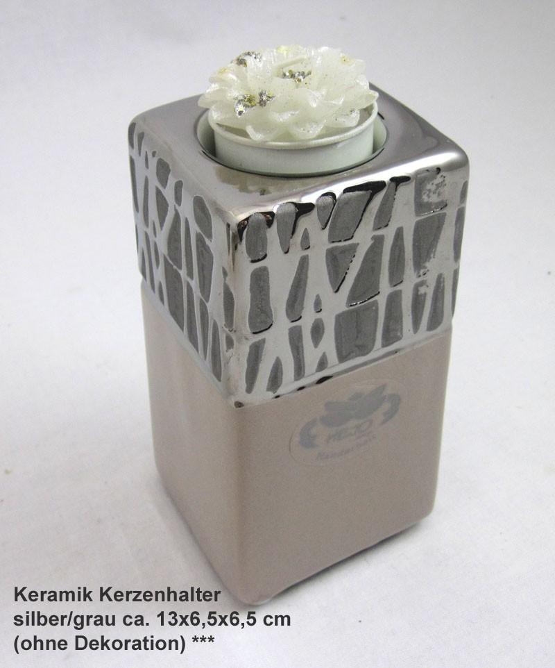 Keramik Kerzenhalter Cappuccino silber/grau ca. 13x6,5x6,5 cm