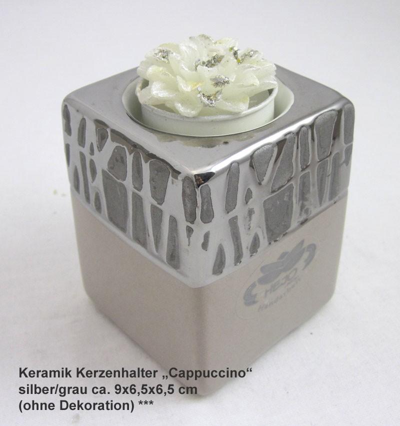 Keramik Kerzenhalter Cappuccino silber/grau ca. 9x6,5x6,5 cm