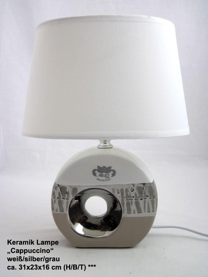 Keramik Lampe Cappuccino weiß/silber/grau ca. 31x23x16 cm (H/B/T)