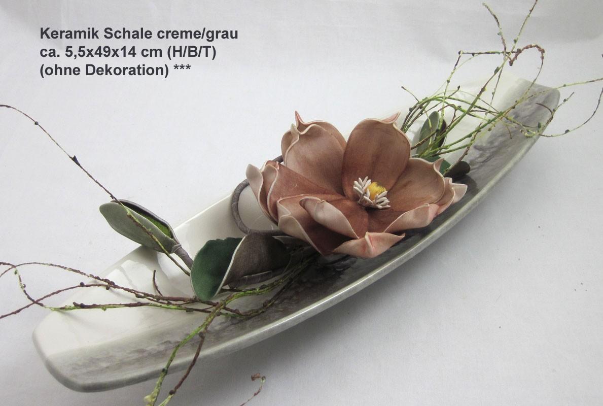 Keramik Schale creme/grau ca. 5,5x49x14 cm (H/B/T)