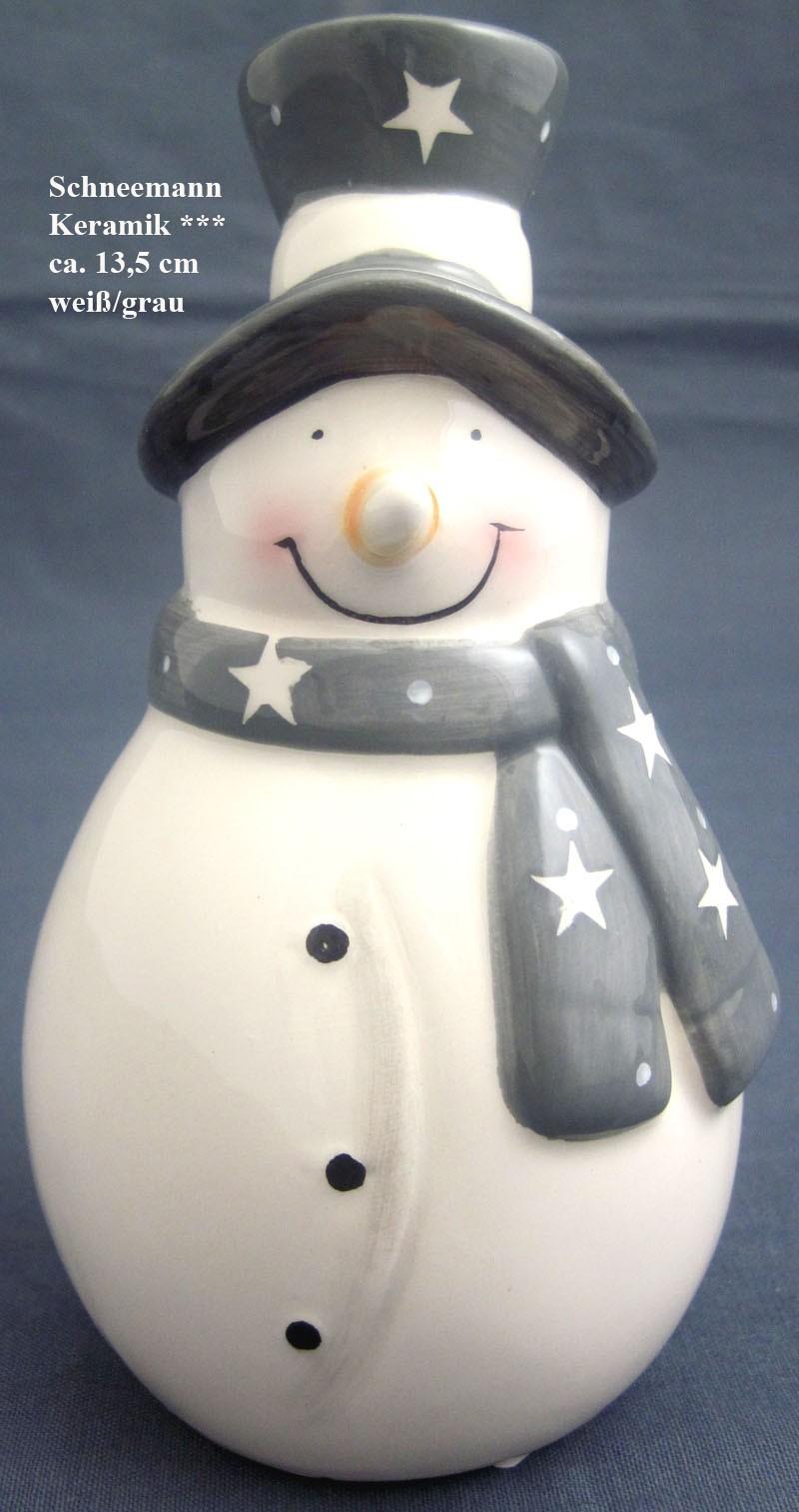 Keramik Schneemann Sternenmuster glasiert grau/weiß ca.13,5x8cm