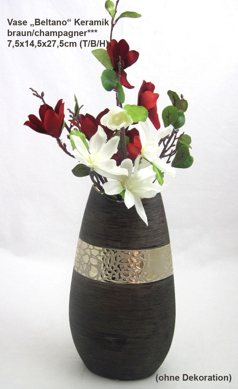 "Keramik schmale Vase ""Beltano"" braun/champagner ca. 7,5 x 14,5 x 27,5 cm (T/B/H)"
