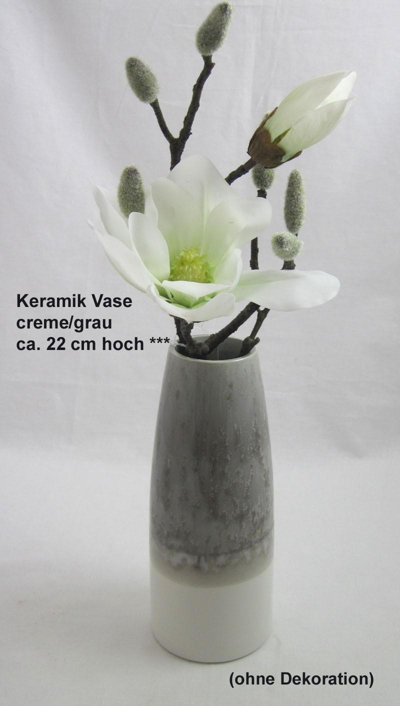 Keramik Vase creme/grau ca. 22x9x9 cm /H/B/T)