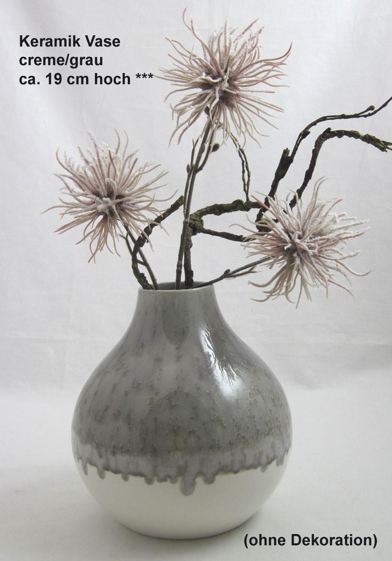 Keramik Vase creme/grau ca. 19x17x17 cm (H/B/T)