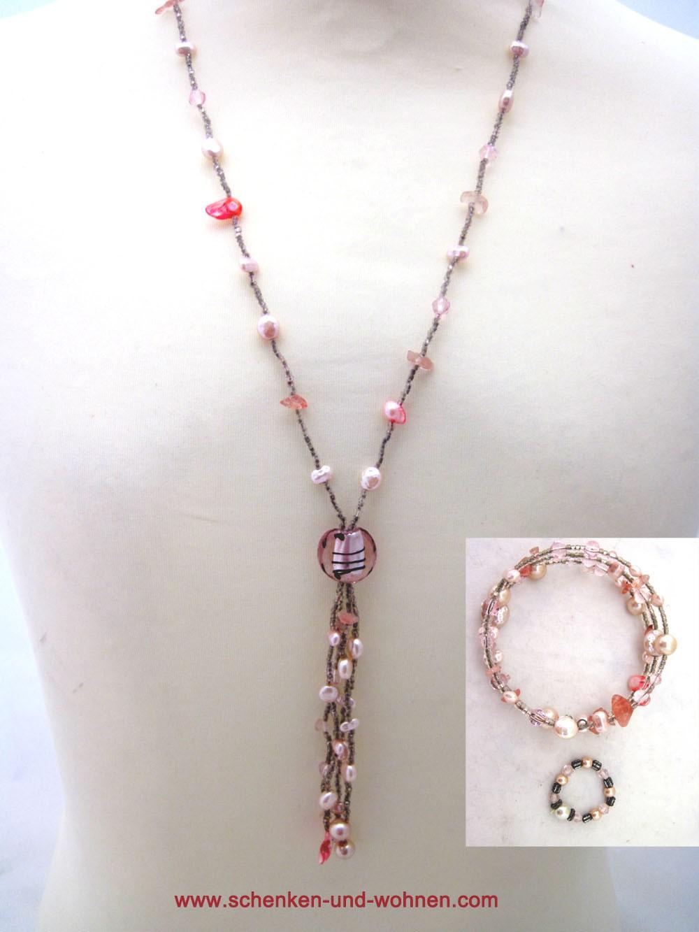 Schmuckset Modeschmuck 3teilig Länge ca. 48 cm rosa