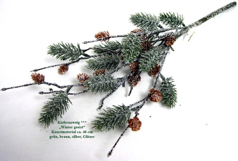 """Künstl. Kiefernzweig mit kleinen Zapfen """"Winter geeist"""" grün,braun,silber 46cm"""