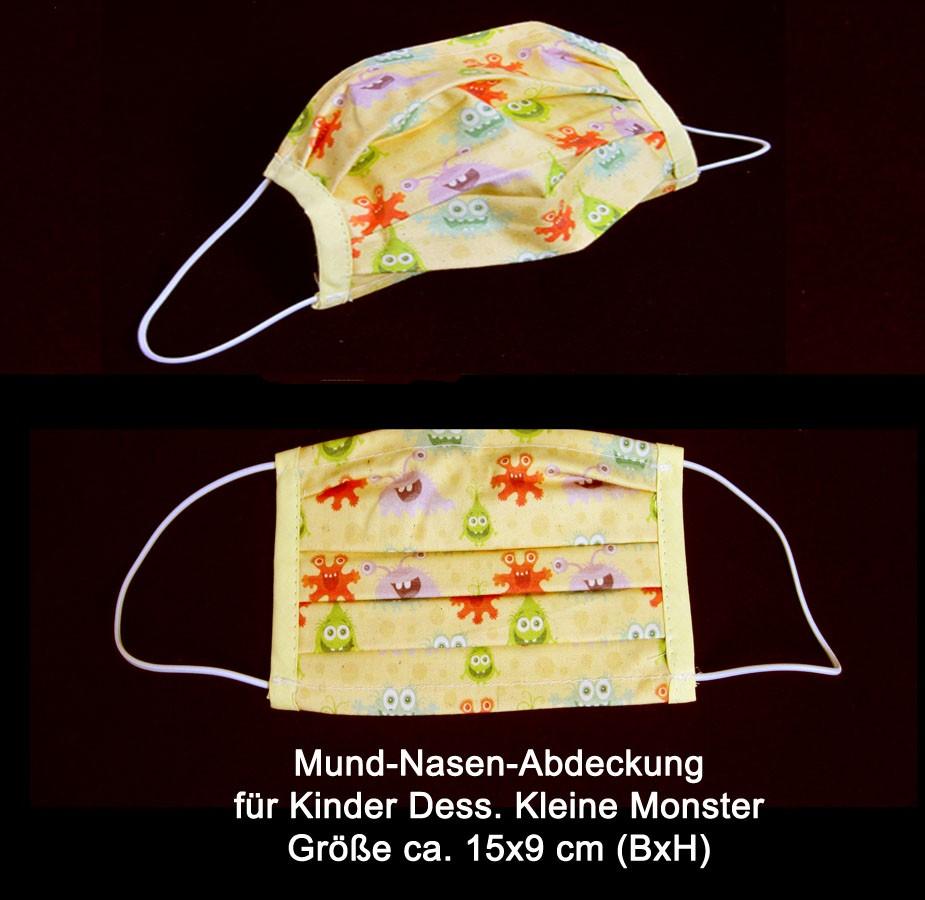 Mund-Nasen-Abdeckung für Kinder aus 100 % Baumwolle Dess. Kleine Monster