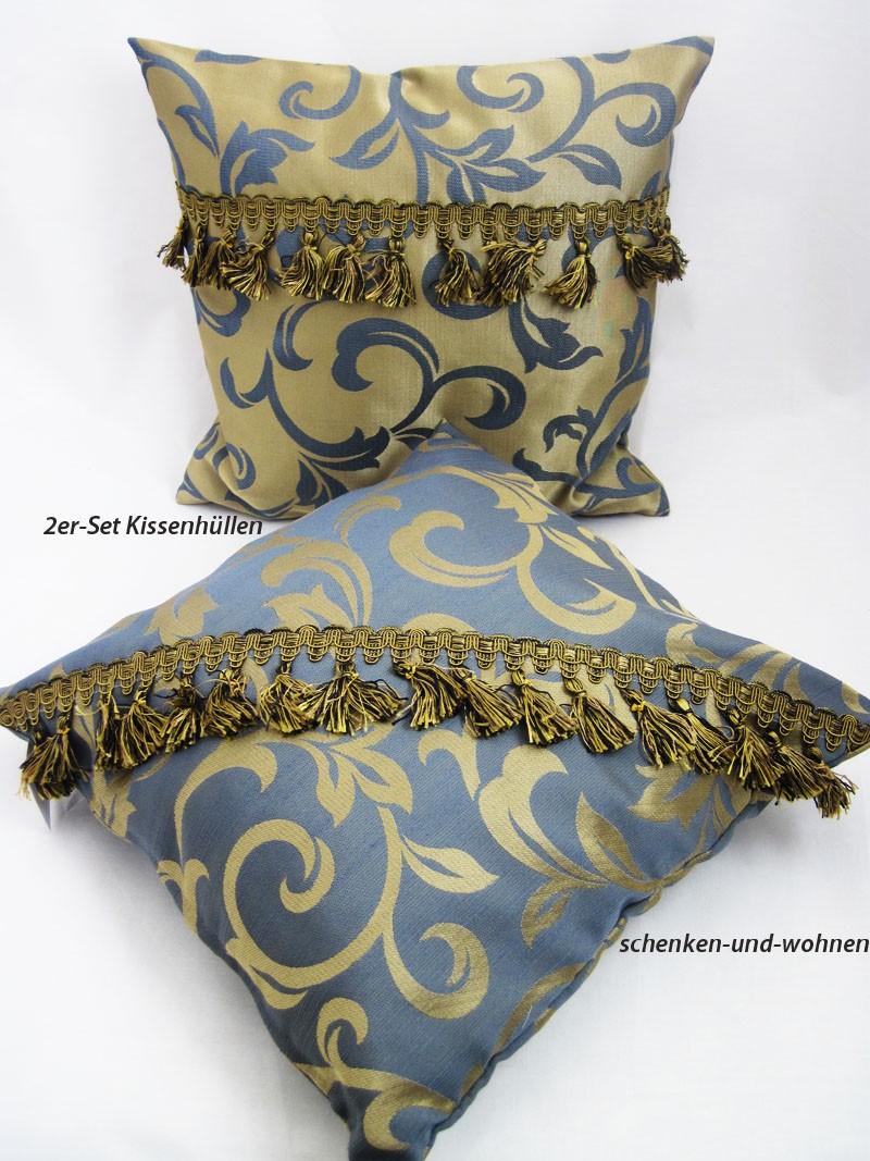 2er-Set Kissenhüllen grau/gold mit Ornamentmuster ca. 40 x 40 cm