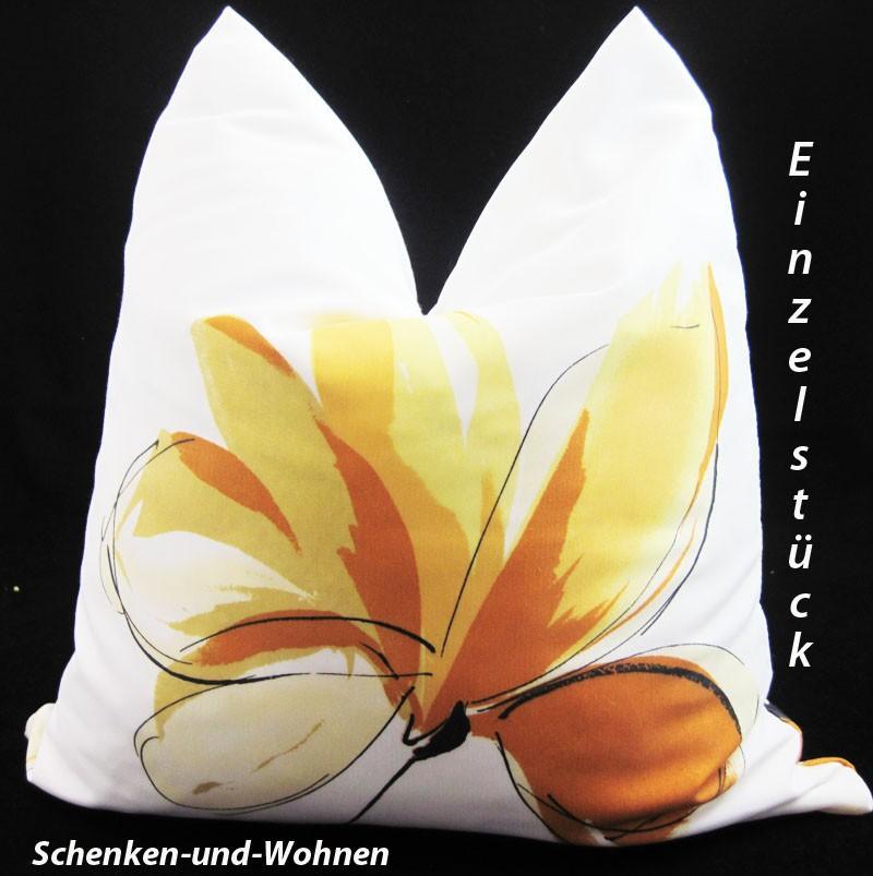 Kissenhülle im Blumendessign Gelb, ca. 40 x 40 cm