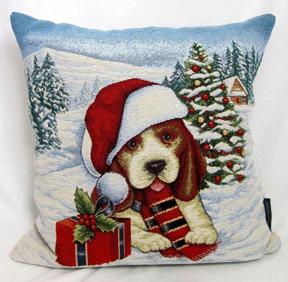 """Kissenhülle Gobelin - Weihnachten- """"Winter"""" Max bleu/bunt, ca.45 x 45 cm"""
