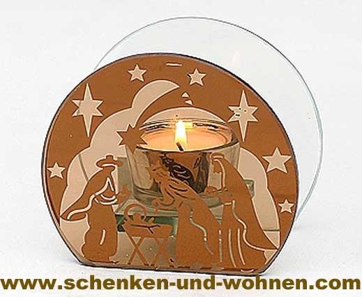 Modernes Teelicht aus Glas rund kupfer 9,5 cm Heilige Familie