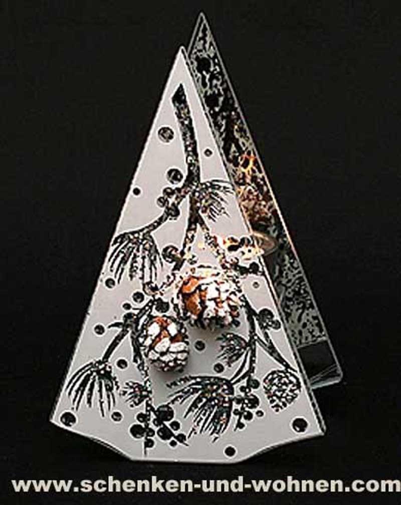 Modernes Teelicht aus Glas Pyramide Tannenzapfen mit Glitter 16,5 cm